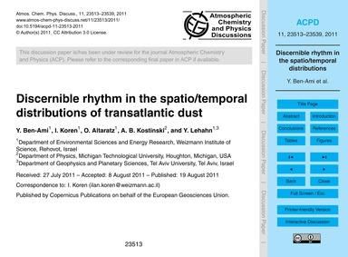 Discernible Rhythm in the Spatio/Tempora... by Ben-ami, Y.