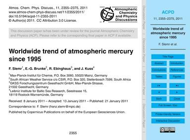 Worldwide Trend of Atmospheric Mercury S... by Slemr, F.