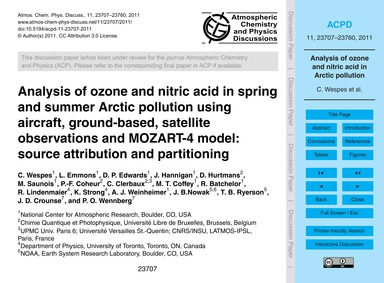 Analysis of Ozone and Nitric Acid in Spr... by Wespes, C.