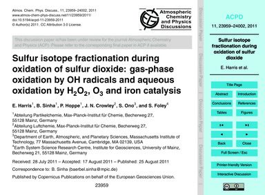 Sulfur Isotope Fractionation During Oxid... by Harris, E.