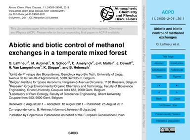 Abiotic and Biotic Control of Methanol E... by Laffineur, Q.