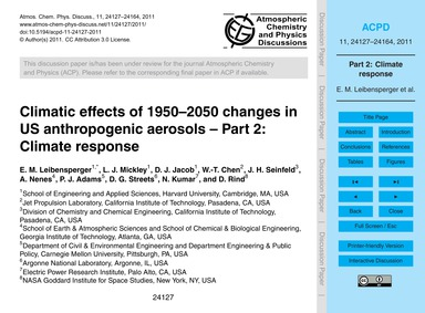 Climatic Effects of 1950–2050 Changes in... by Leibensperger, E. M.