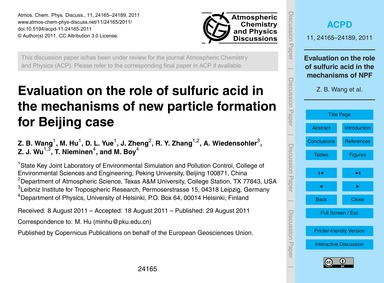 Evaluation on the Role of Sulfuric Acid ... by Wang, Z. B.
