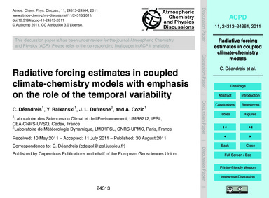Radiative Forcing Estimates in Coupled C... by Déandreis, C.