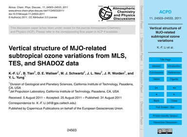 Vertical Structure of Mjo-related Subtro... by Li, K.-f.