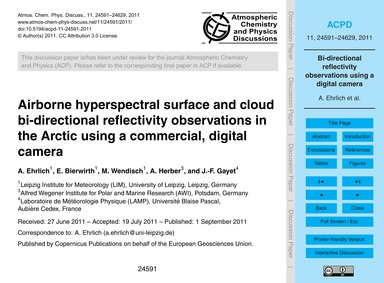Airborne Hyperspectral Surface and Cloud... by Ehrlich, A.