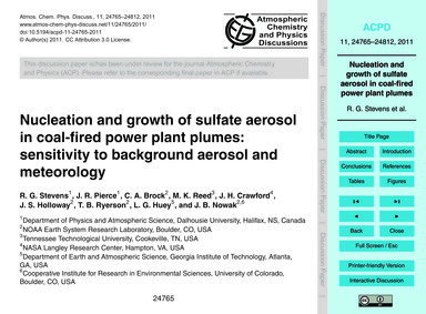 Nucleation and Growth of Sulfate Aerosol... by Stevens, R. G.