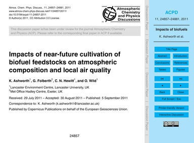 Impacts of Near-future Cultivation of Bi... by Ashworth, K.