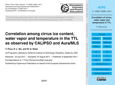 Correlation Among Cirrus Ice Content, Wa... by Flury, T.