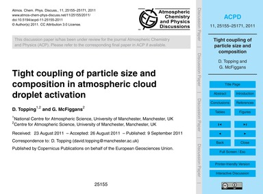 Tight Coupling of Particle Size and Comp... by Topping, D.