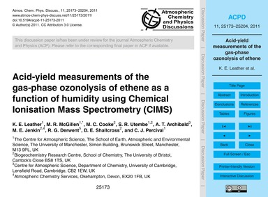 Acid-yield Measurements of the Gas-phase... by Leather, K. E.
