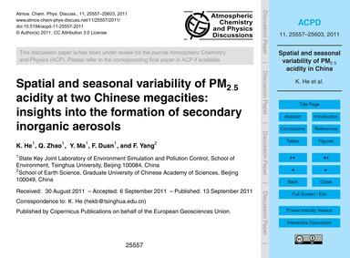 Spatial and Seasonal Variability of Pm2.... by He, K.