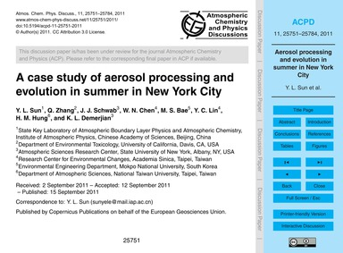 A Case Study of Aerosol Processing and E... by Sun, Y. L.