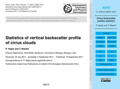 Statistics of Vertical Backscatter Profi... by Veglio, P.