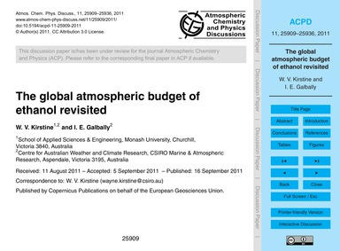 The Global Atmospheric Budget of Ethanol... by Kirstine, W. V.