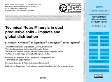 Technical Note: Minerals in Dust Product... by Nickovic, S.