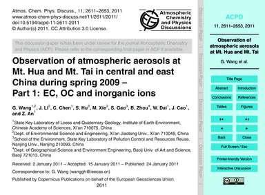 Observation of Atmospheric Aerosols at M... by Wang, G.
