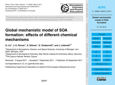 Global Mechanistic Model of Soa Formatio... by Lin, G.