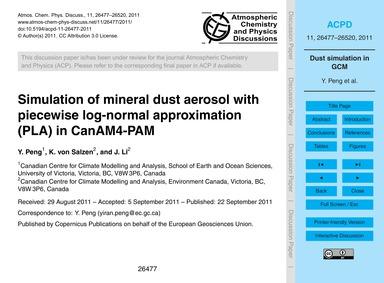 Simulation of Mineral Dust Aerosol with ... by Peng, Y.