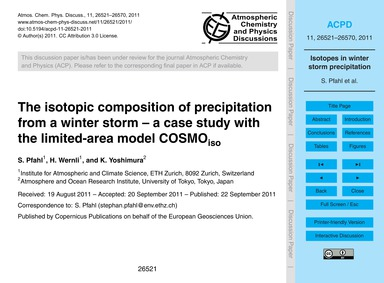 The Isotopic Composition of Precipitatio... by Pfahl, S.