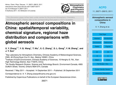 Atmospheric Aerosol Compositions in Chin... by Zhang, X. Y.