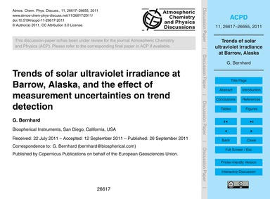 Trends of Solar Ultraviolet Irradiance a... by Bernhard, G.