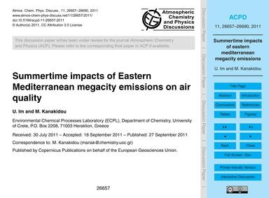 Summertime Impacts of Eastern Mediterran... by Im, U.