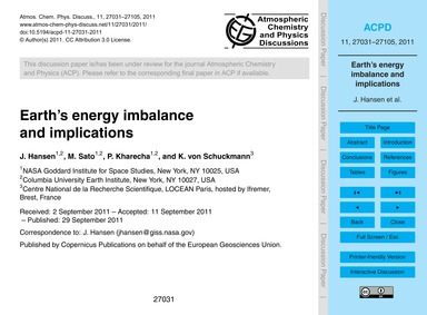 Earth's Energy Imbalance and Implication... by Hansen, J.