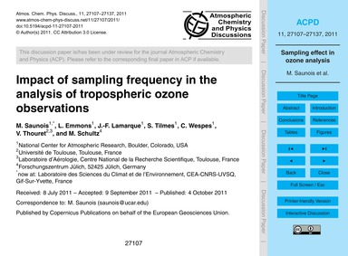 Impact of Sampling Frequency in the Anal... by Saunois, M.