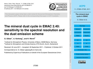 The Mineral Dust Cycle in Emac 2.40: Sen... by Gläser, G.