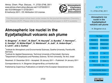 Atmospheric Ice Nuclei in the Eyjafjalla... by Bingemer, H.