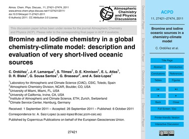 Bromine and Iodine Chemistry in a Global... by Ordóñez, C.
