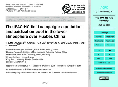 The Ipac-nc Field Campaign: a Pollution ... by Ma, J. Z.