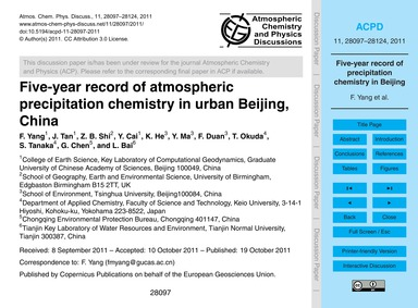 Five-year Record of Atmospheric Precipit... by Yang, F.