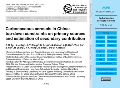 Carbonaceous Aerosols in China: Top-down... by Fu, T.-m.