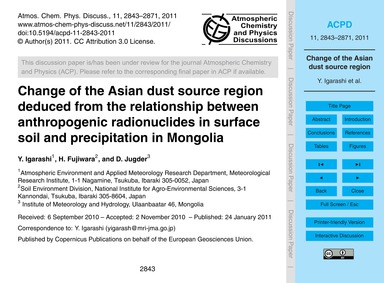 Change of the Asian Dust Source Region D... by Igarashi, Y.