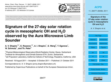 Signature of the 27-day Solar Rotation C... by Shapiro, A. V.