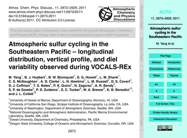 Atmospheric Sulfur Cycling in the Southe... by Yang, M.