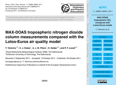 Max-doas Tropospheric Nitrogen Dioxide C... by Vlemmix, T.