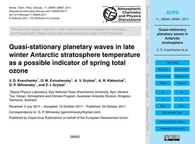Quasi-stationary Planetary Waves in Late... by Kravchenko, V. O.