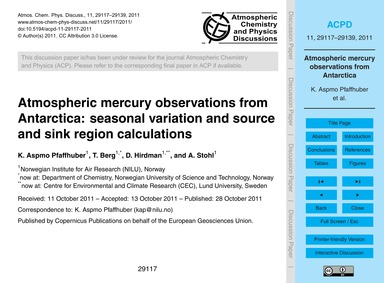 Atmospheric Mercury Observations from An... by Aspmo Pfaffhuber, K.