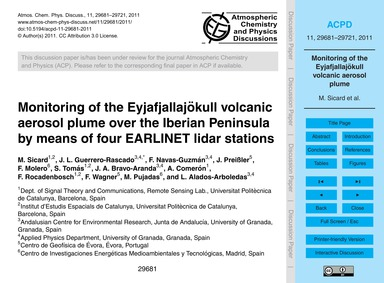 Monitoring of the Eyjafjallajökull Volca... by Sicard, M.