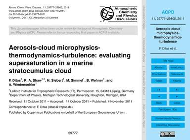 Aerosols-cloud Microphysics-thermodynami... by Ditas, F.