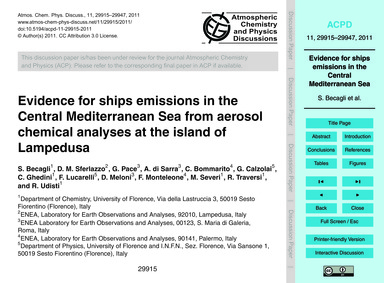 Evidence for Ships Emissions in the Cent... by Becagli, S.