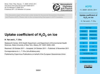 Uptake Coefficient of H2O2 on Ice : Volu... by Yan, H.