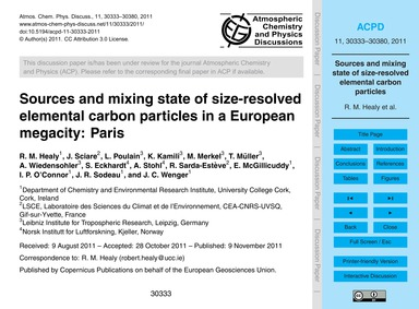 Sources and Mixing State of Size-resolve... by Healy, R. M.