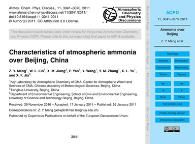 Characteristics of Atmospheric Ammonia O... by Meng, Z. Y.