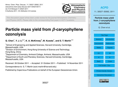 Particle Mass Yield from Β-caryophyllene... by Chen, Q.