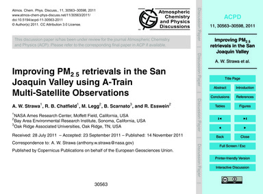 Improving Pm2.5 Retrievals in the San Jo... by Strawa, A. W.
