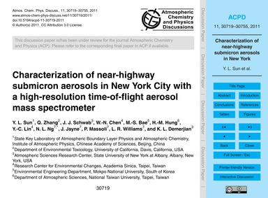 Characterization of Near-highway Submicr... by Sun, Y. L.